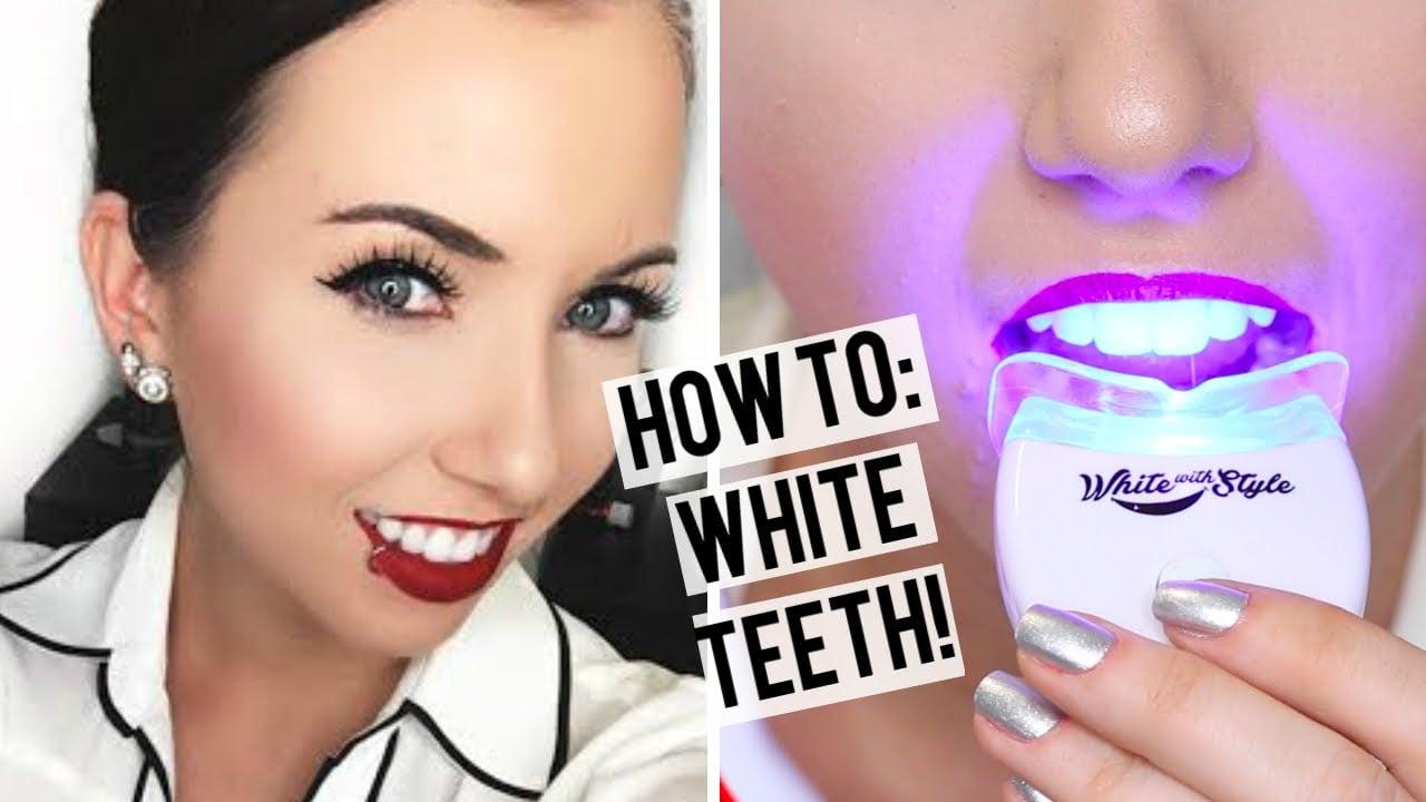 skinnende hvitt smil med tannbleking